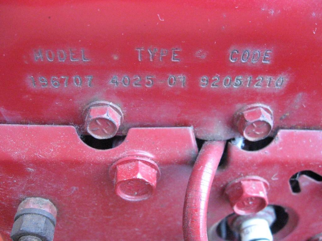 The engine number - Briggs & Stratton